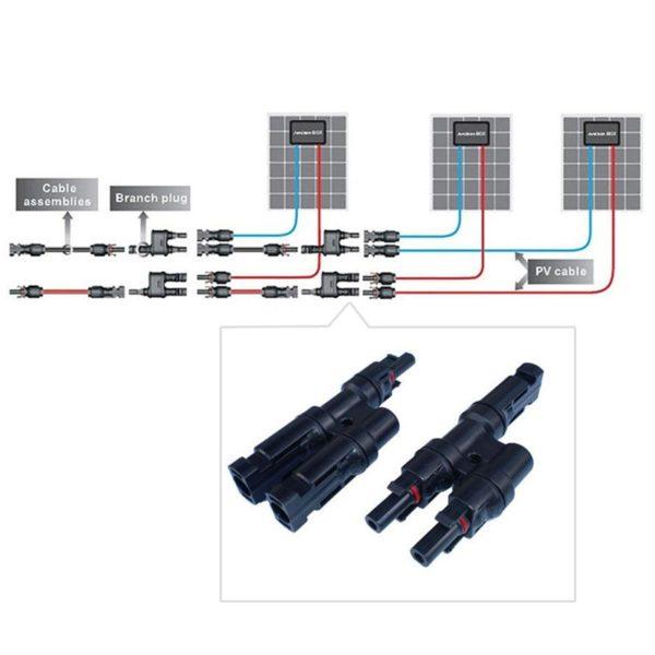 schéma de montage Splitter de cable solaire pour 2 panneaux avec connecteurs MC4
