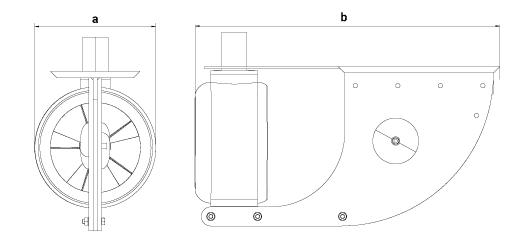 dimensions turbine moteur électrique Bluespin fixe